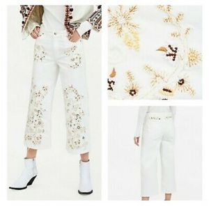 Zara The Western Culotte Crop Embroidered Jeans